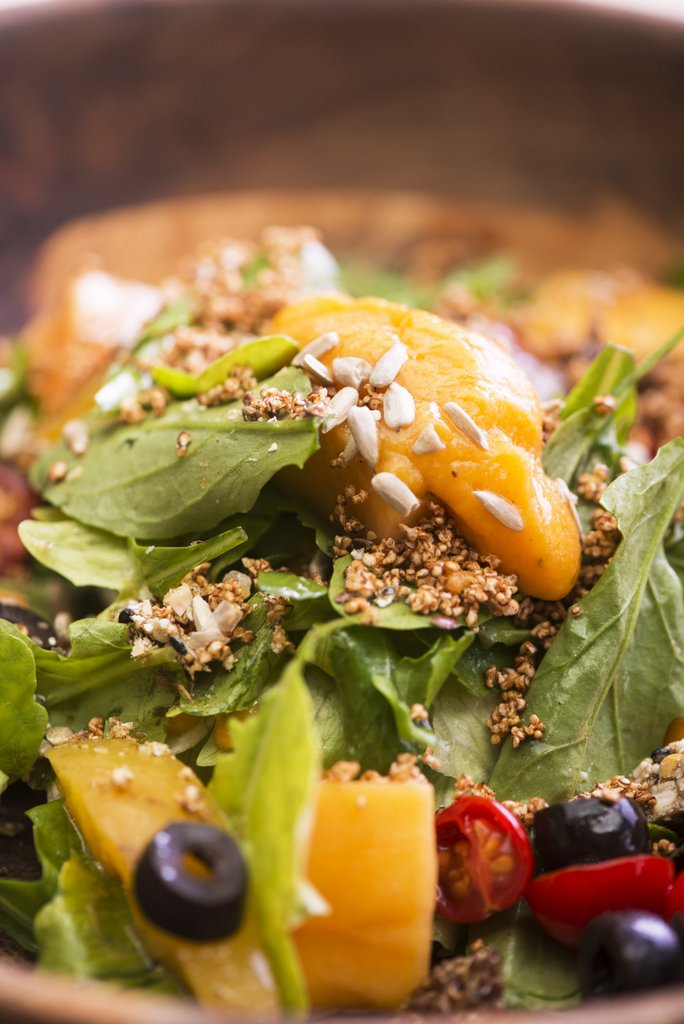 Grilled Peach & Papaya Salad with Amaranath Granola- Zoom Version