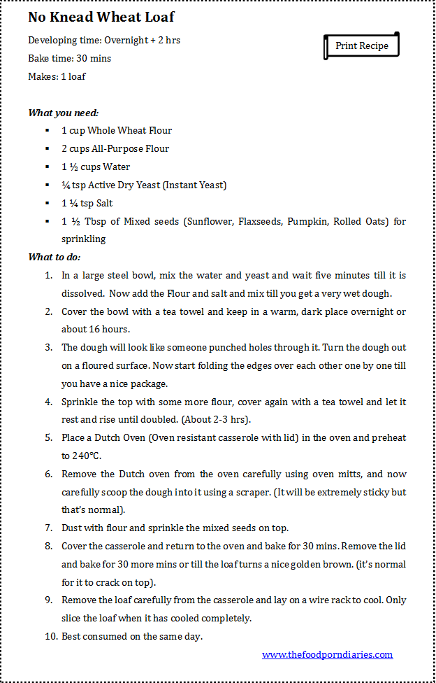Whole Wheat Loaf - Recipe
